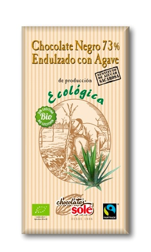 CHOCOLATE NEGRO 73% CON AGAVE SOLE 100GR